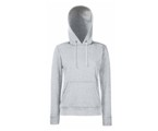 Lady-Fit Hooded Sweat - 80% katoen , 20% polyester, Weight: 260 g/m2,HEATHER GREY.