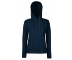 Lady-Fit Hooded Sweat - 80% katoen , 20% polyester, Weight: 260 g/m2,Navy.