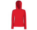 Lady-Fit Hooded Sweat - 80% katoen , 20% polyester, Weight: 260 g/m2,Red.