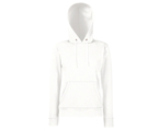 Lady-Fit Hooded Sweat - 80% katoen , 20% polyester, Weight: 260 g/m2,White.