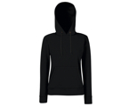 Lady-Fit Hooded Sweat - 80% katoen , 20% polyester, Weight: 260 g/m2,Black.